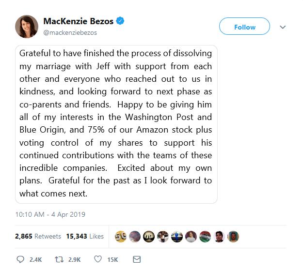 ? Блискуче розлучення: Маккензі Безос отримала 25% частки Amazon